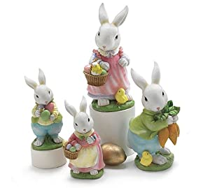 Easter Bunny Rabbit Family Figurines Set of 4 Adorable Easter Decor