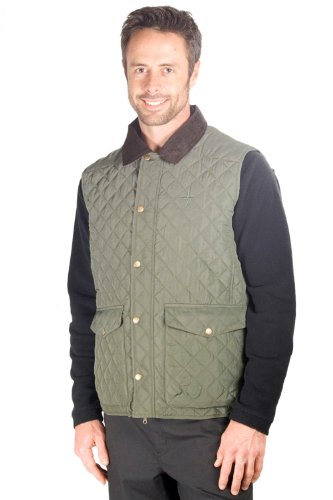 Oak Men's Quilted Gilet - Colour Khaki Size Medium