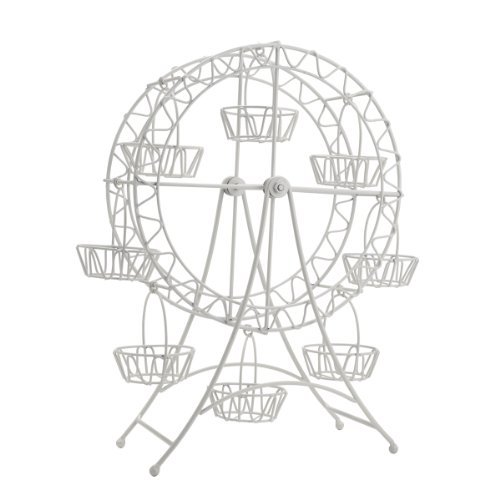 WHITE METAL FERRIS WHEEL CUPCAKE HOLDER (Carousel Cupcake Stand compare prices)