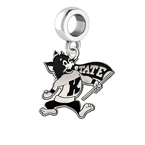 Kansas State Wildcats Antique Silver Dangle Charm