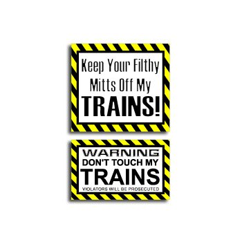 Hands Mitts Off TRAINS - Funny Decal Sticker Set
