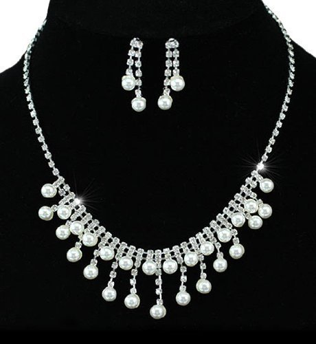Gorgeous Pearl and Crystal Twin Layered Bridal Prom Jewellery Necklace Earrings Drop Set with PreciousBags Dust Bag