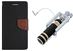 Novo Style Wallet Case Cover For Micromax Canvas Selfie Lens Q345 Black + Wired Selfie Stick No Battery Charging Premium Sturdy Design Best Pocket Sized Selfie Stick