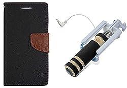 Novo Style Wallet Case Cover For MotorolaMoto E Black + Wired Selfie Stick No Battery Charging Premium Sturdy Design Best Pocket SizedSelfie Stick