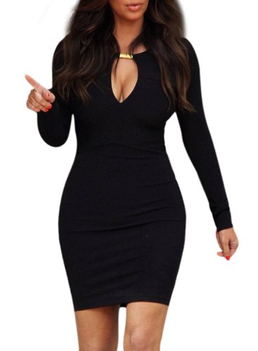 OFTEN® Women Lady Keyhole with Metal Buckle Bodycon Pencil Party Dress