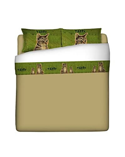 LITTLE FRIENDS by MANIFATTURE COTONIERE Betttuch und Kissenbezug Tabby Cat grün