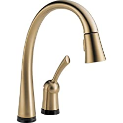 Delta Faucet 980T-CZ-DST Pillar, Single Handle Pull-Down Kitchen Faucet with Touch2O(R) Technology, Champagne Bronze