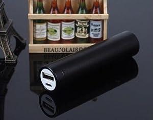 2600mah Lipstick Power Bank External Battery Charger - Black
