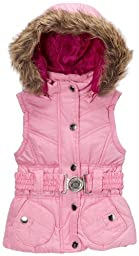 Dollhouse Girls Belted Bubble Vest with Faux Fur Trim Hood - Pink (Size 2T)