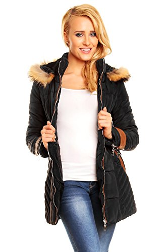 damen-steppmantel-mantel-parka-echt-fell-kapuze-jacke-daunen-look-winter-x569-schwarz-m
