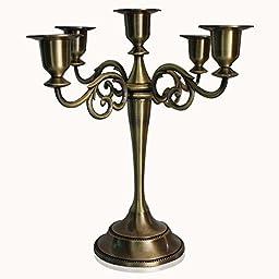 Luckykiss Antique Style Metal Pillar Candelabra Chic, Bronze, 5 Candle Holder