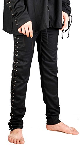Medieval Renaissance Pirate Gothic Death Pants Costume [Black] (Small/Medium) (Renaissance Pants Men compare prices)