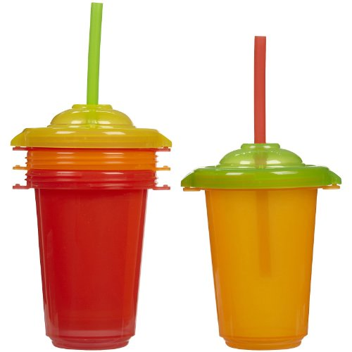 Munchkin 10 Ounce Pack Re-Usable Twist Tight Straw Cups, 4 Pack, Neutral front-897338