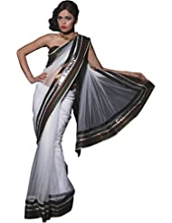 Vestire By Jk Womens Net White Saree