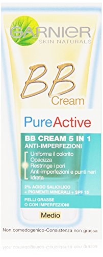 Garnier Pureactive Bb Cream 5 in 1 Anti-Imperfezioni Medio, 50 ml