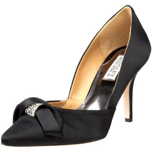 Badgley Mischka Women's Oxford Special Occasion Heel Black Satin MP2034 4 UK