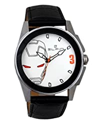 Elfin Men's Genuine Leather Quartz Analogue White Dial Watch (ELF7020A)