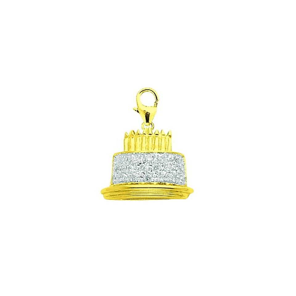 14K Gold 1/10ct HIJ Diamond Happy Birthday Cake Spring Ring Charm
