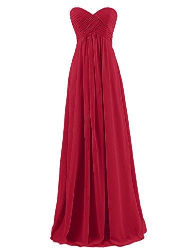 Dresstells® Sweetheart Bridesmaid Chiffon Prom Dresses Long Evening Gowns Dark Red Size1