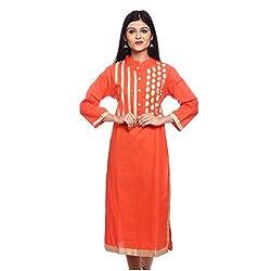 Saamarth Impex Women Cotton Orange Color embroidery/Gotta Patti Work Collar neck Long Straight Style Kurti SI-2854