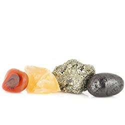 Healing Crystals Love, Pyrite, Hematite, Red Carnelian, Orange Calcite, for Meditation, Crystal Healing, and Reiki