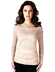 Per Una Speziale Metallic Knitted Top with Silk