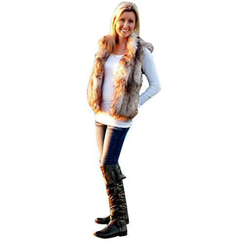 ipretty Women Faux Fur Vest Environmentally Waistcoat Synthetic Fox Wool Gilet