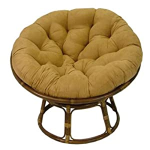 International Caravan 42 In Papasan Chair With Solid Micro Suede Cushion Color - Camel from Intl. Caravan/Golden Needle