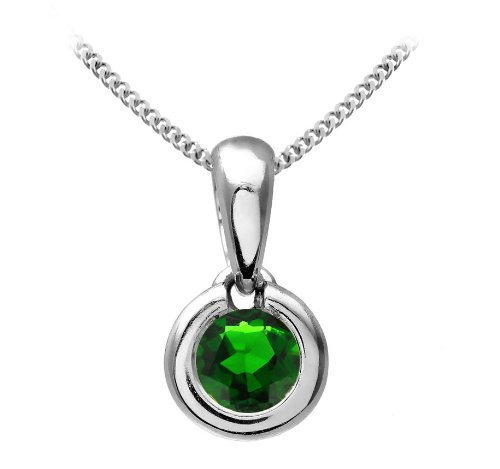 Chic 9 ct White Gold Ladies Solitaire Pendant + Chain with Chrome Diopside 0.25 ct - 4mm*4mm
