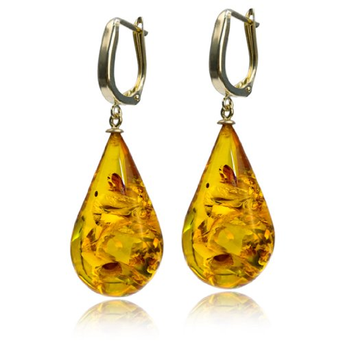 14k Gold High Quality Amber Drop Leverback Earrings
