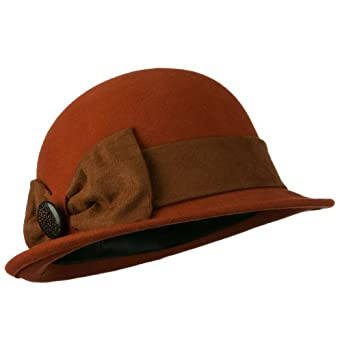 Dressy Woman's Bowler Hat with Button Accent - Apricot OSFM