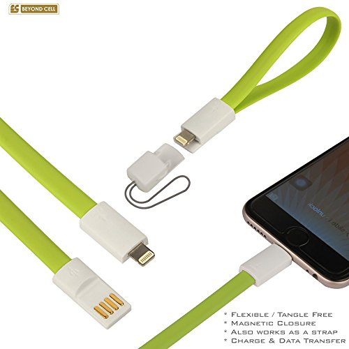Beyond Cell®(22Cm) Portable Flat Gel Magnetic Cable With 8Pin 2 Side High Speed Usb Data Charging Cable & Sync Data Transfer Cord For (Iphone 5/5S/5C/6/6 Plus ,Ipad, Ipod Touch) - Neon Green - Retail Packaging
