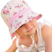 Millymook Girls Reversible Cotton Sun Hat Vintage Bucket -Pink (Infant 0-12 Months), UPF50+