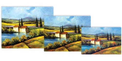 Magic Slice Non-Slip Flexible Gourmet/Chef/Party Size Cutting Boards, Tuscan Scene by H. Hargrove