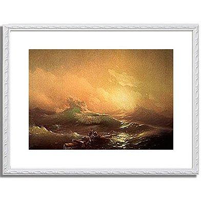 イヴァン・アイヴァゾフスキー Aivazovsky, Konstantinovich Ivan「The Wave.」インテリア アート 絵画 プリント 額装作品 フレーム:装飾(白) サイズ:M (306mm X 397mm)