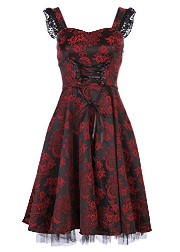 Black-and-Dark-Red-Brocade-50s-PinUp-Rockabilly-Retro-Dress-with-Black-Lace