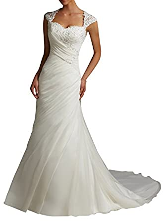 Dapene Women 39 S Lace Sweetheart Mermaid Train Bride Gown