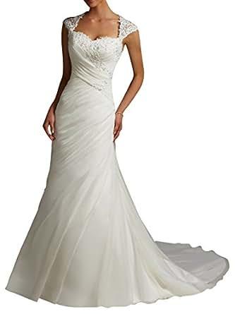 DAPENER Womens Lace Sweetheart Mermaid Train Bridal Gown Wedding Dress