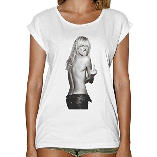 T-Shirt Donna Fashion Model Fuck You Kate Moss - Bianco
