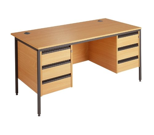 Straight H Frame Desk - 2 X 3 Drawer Fixed Pedestals - Height: 725 MM; Width: 1532 MM; Depth: 746 MM - Color: Oak