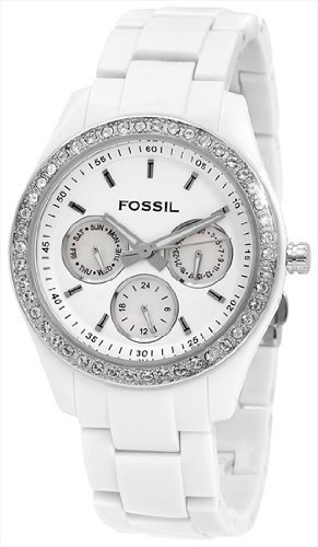 Fossil ES1967 Ladies Stone Set Bezel Multi Dial White Acrylic Watch