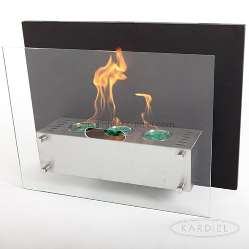 "Ecopyro Af-904-B Hoodoo Wall Hanging Ethanol Fireplace 27 5/8"", Stainless Steel/ Chimney Black"