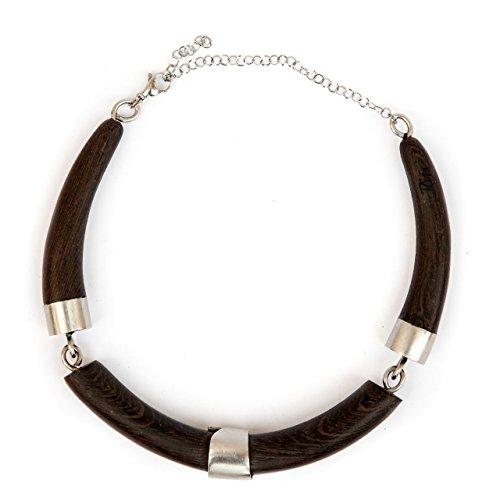 Rizzello Scultore - Black Claw: collier snodato in legno wenge e acciaio. Artigianato pugliese.