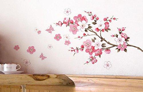 wall-sticker-ddlbizr-adesivi-murales-carta-da-pareti-fiore-rosa-farfalla-decorazione-murali-da-paret