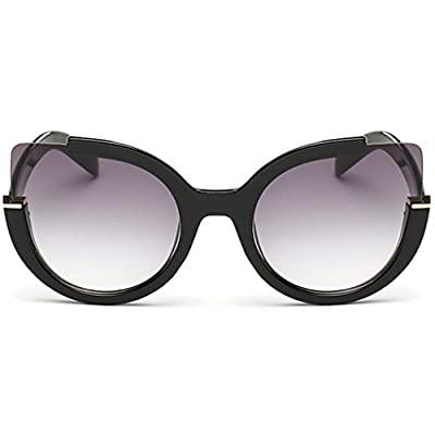 Supertrip Womens Fashion Oversized Round Square Plastic Vintage Cut-Out Flash Mirror Lens Cat Eye Sunglasses