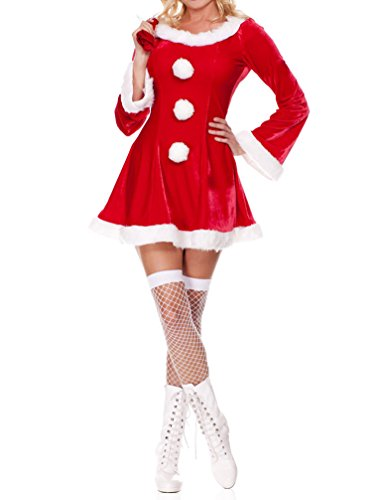 Queeneyes Women's Sexy Naughty Sweet Santa Dress Lingerie Christmas Outfit Customes