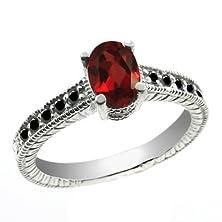 buy 1.23 Ct Oval Red Garnet Black Diamond 18K White Gold Ring