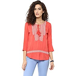 Bhama Couture Coral Embroidered Rayon Crepe Blouse X-Small
