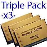 Premium Quality -Triple Pack- 3x NP20 / NP-20 3.7V 750mAh High capacity replacement Li ion Battery for Casio digital camera models EX-S100 EX-S500EO EX-S500GY EX-S500WE EX-S600EO EX-S600GD Exilim EX-M1 EX-M2 EX-M20 EX-M20U EX-S1 EX-S100 EX-S100WE EX-S1PM
