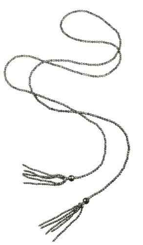 Faceted Hematite with Sterling Silver Caps Tassel Necklace 55
